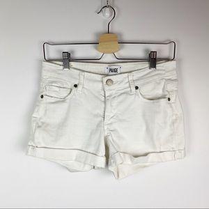 Paige Jimmy Jimmy white denim cuffed shorts 24